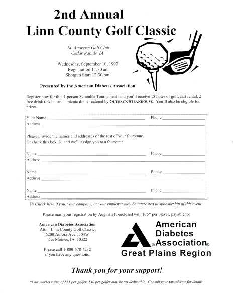Linn County Golf Classic golfer registration form