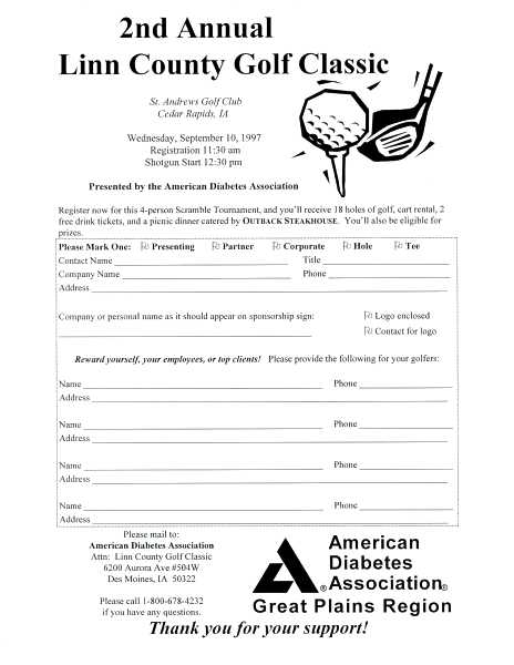 Linn County Golf Classic sponsor registration form