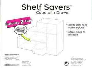 Shelf Savers Cube w/ Drawer packaging, side