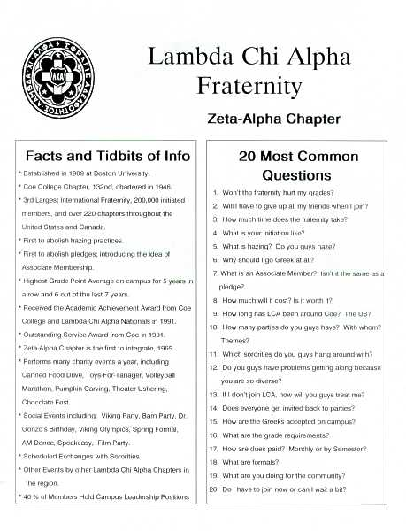Lambda Chi Alpha rush facts sheet