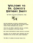 Dr. Gonzo's B-day party poster