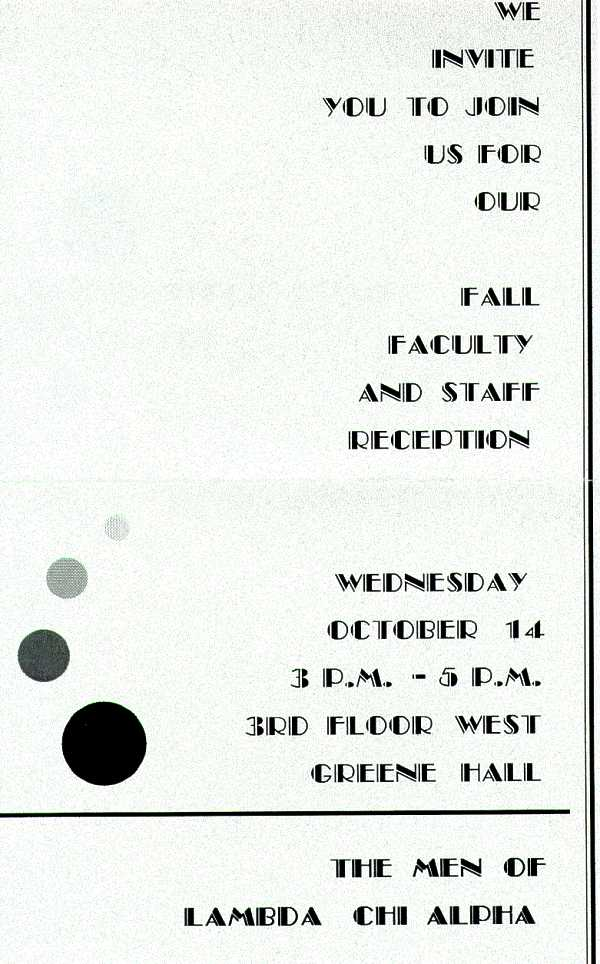 1992 Fall Faculty reception invite, inside