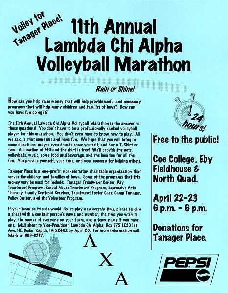 LCA 11th Annual Volleyball Marathon mailer