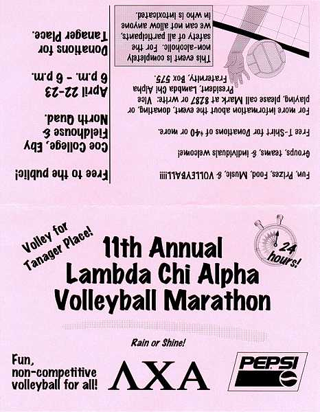 LCA 11th Annual Volleyball Marathon table tent
