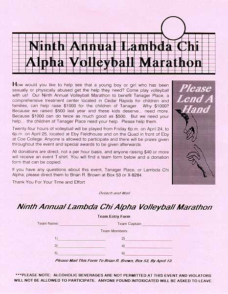 LCA 9th Annual Volleyball Marathon entry form