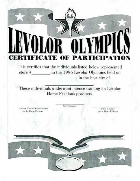 Levolor Olympics certificate