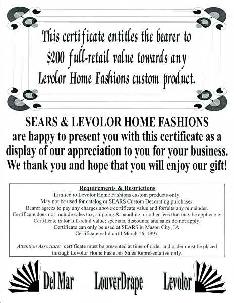 Sears certificate