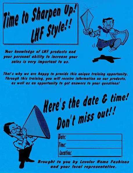 Levolor Sharpen-up training poster