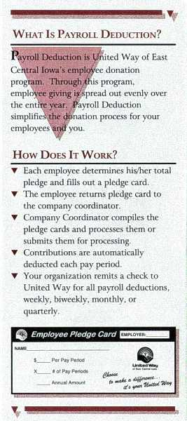 UW-ECI Payroll Deduction brochure, inside 1