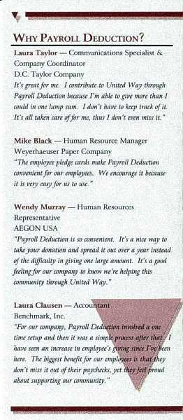 UW-ECI Payroll Deduction brochure, inside 2