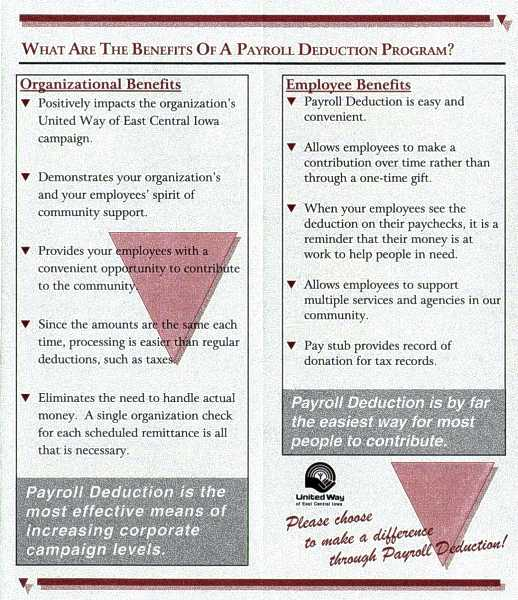 UW-ECI Payroll Deduction brochure, inside 3