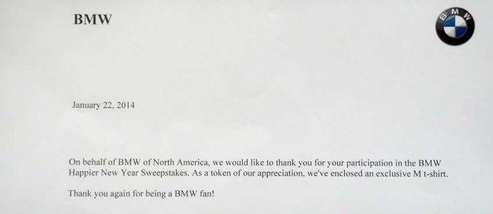 2013 BMW Happier New Year Sweepstakes participation letter